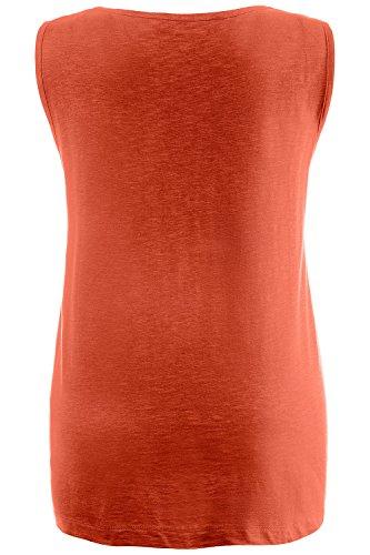Ulla Popken Femme Grandes tailles Top Femme tendance uni à Clous Sans Manches Sweat-shirt Pull-over Jumper Tops Blouse 705096 Orange