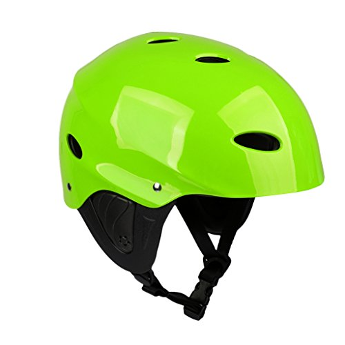 MagiDeal CE Approved M/L Green/Rose Head & Ear Protection Safety Helmet with Air Vents for Water Sport Canoeing Kayaking Wakeboarding - Green, L
