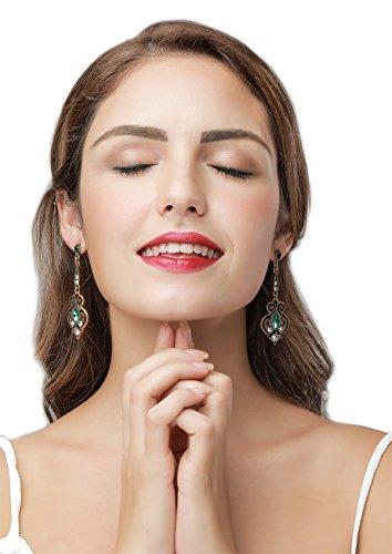 LARESDOMI Vintage Ohrringe goldfarben Kristall Verkrustet Simulierte Grün Turmalin Classic Georgian Drop Ohrringe - 5