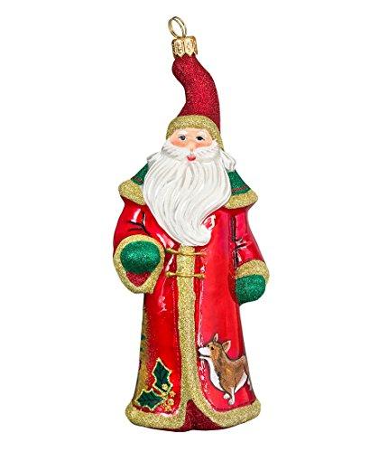 Joy Glitterazzi Waiting for Santa Welsh Corgi Polish Blown Glass Christmas Ornament -