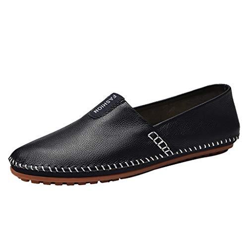 friendGG Slipper Herren Fahren Schuhe Leder Loafers Slip On Handgefertigt Flache Business Schuhe Halbschuhe Herren Big Size Business Leder Schuhe rutschfest Bequemes Fahren Freizeitschuhe