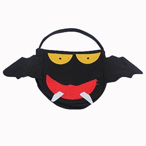 Transer® Halloween-Süßigkeit-Beutel-Geschenk-Beutel-reizende Fledermäuse Monster Dekoration-wiederverwendbare Einkaufstasche-Handtaschen-Größe: 45 * 29cm, Schwarz
