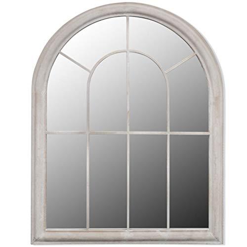 yorten Gartenspiegel Vintage Weiß Eisen und Glas 69 x 3 x 89 cm (L x B x H) für den Innen- und Außenbereich