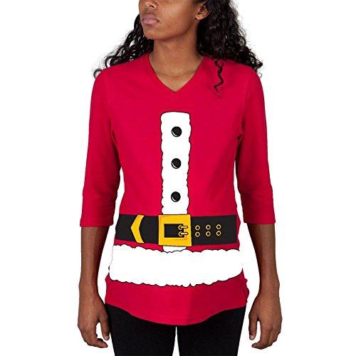 3/4 Ärmel Mutterschaft T-shirts (Christmas Santa Claus Kostüm rot Mutterschaft 3/4 Ärmel T-shirt-groß)