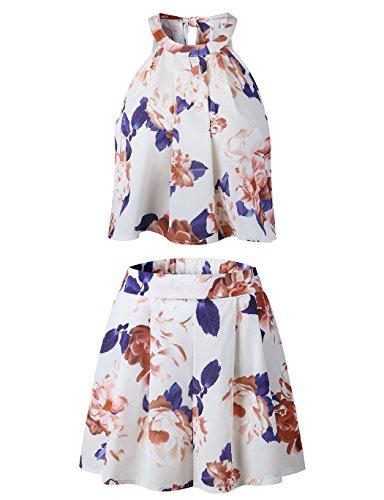 EULLA Damen Jumpsuit Kurz Sommer Blumenmuster Rompers Ärmellos Elegant Schlitz Overall Playsuit Vintage Boho Strandkleid 2 teiliges Outfit-Top mit Kurzen Reizvolle Shorts (Beige, XXL)