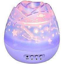 Ecandy 360 grados de rotación 3 Modo de luz del proyector de la estrella romántica Cosmos Luna del cielo de la lámpara de proyección de luz nocturna dormitorio para niños, bebés, regalos de la Navidad, los amantes del USB / Powered.d batería (púrpura)