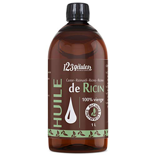 Huile de Ricin 1L, Pure et Naturelle - Barbe, Cheveux, Cils, Ongles, Peau. ...