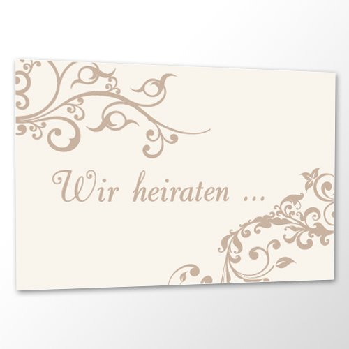 10 x Save the Date Karte Hochzeit - Ornament Creme