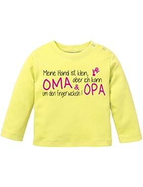 EZYshirt® Meine Hand ist klein aber ich kann Oma & Opa um den Finger wickeln Baby T-Shirt Longsleeve