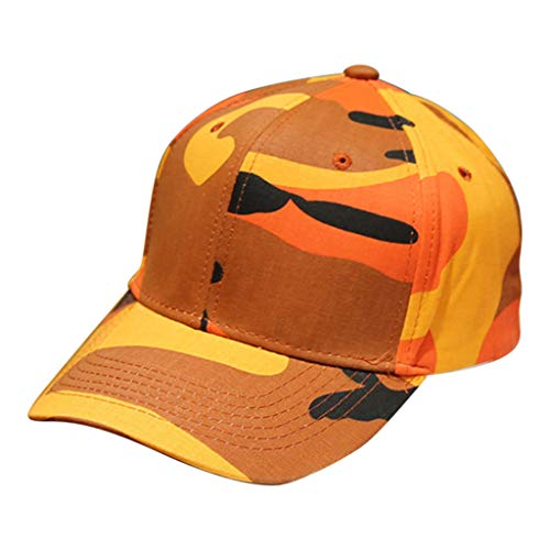 Qmber Damen Herren Baseball Cap Unisex Frauen Männer Hip Hop caps Besticken Brief Kappe Sommer Baseballmütze Verstellbar Hüte Outdoor Camouflage Trucker Plain Visier/Orange