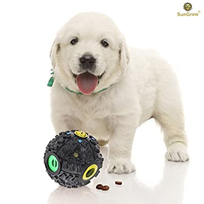Interactive Dog & Cat Toy by SunGrow -- Food Puzzle Ball - Treat dispenser for puppies, small and medium pets - Increase IQ, Boredom buster - Provide hours of fun & Entertainment with duck-like sound
