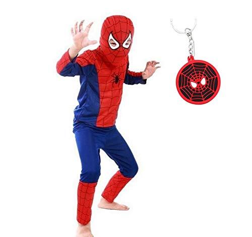 Jungen Set Superhelden Kostüm - La Senorita Spiderman Kostüm Kinderkostüm Superheld Jungen Karneval Verkleidung + GRATIS Schlüsselanhänger (Größe 3 - 4 Jahr, 104-110 (S))