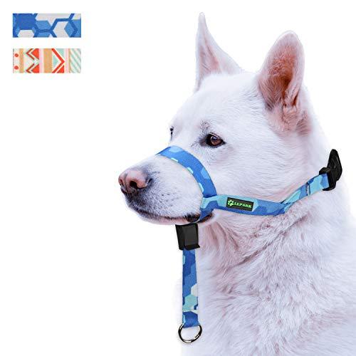 ILEPARK Hunde Maulkorb Hundehalfter aus Leder - Hundehalsband-Leder der Ziehen verhindert, Einstellbar, Maulkorb Hund(S, Saphir)