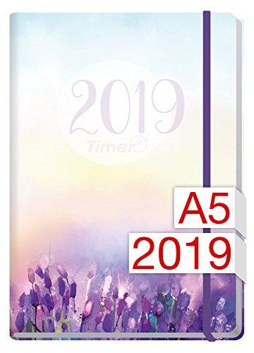 Chäff-Timer Premium A5 Kalender 2019 [Flieder] 12 Monate Jan-Dez 2019 - Gummiband, Einstecktasche - Terminkalender mit Wochenplaner - Organizer - Wochenkalender