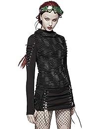 738f75184 Punk Rave Womens Dieselpunk Hoodie Top Black Gothic Dystopian Apocalyptic  Hooded Shredded