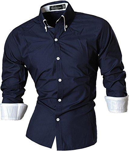 jeansian Herren Freizeit Hemden Shirt Tops Mode Langarmshirts Slim Fit 8382 Navy