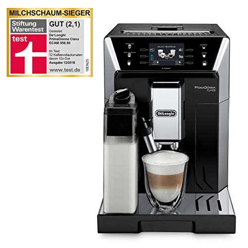 De\'Longhi PrimaDonna Class ECAM 556.55.SB – Kaffeevollautomat mit integriertem Milchsystem, 3,5\'\' TFT Touchscreen & App-Steuerung, automatische Reinigung, 36,1 x 26 x 46,9 cm, schwarz