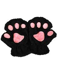 Outstanding® Mujeres de la muchacha linda de la pata del gato de la garra de la felpa del dedo sin dedos medios guantes guantes de invierno suaves