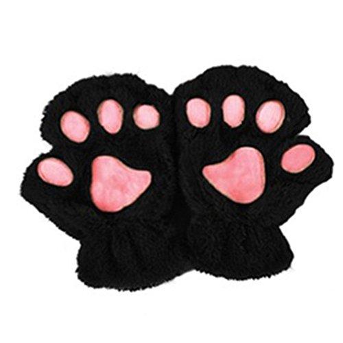 Outstanding Mujeres de la muchacha linda de la pata del gato de la garra de la felpa del dedo sin dedos medios guantes guantes de invierno suaves