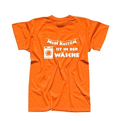T-Shirt Mein Kostüm ist in der Wäsche Karneval Fasching 13 Farben Herren XS-5XL Weiberfastnacht Rosenmontag Sitzung Mottoparty Fun-Shirt, Größe:4XL, Farbe:orange - Logo Weiss