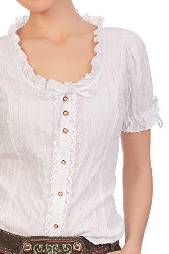Trachten Bluse 1/2 Arm - MERLE - weiß Weiß