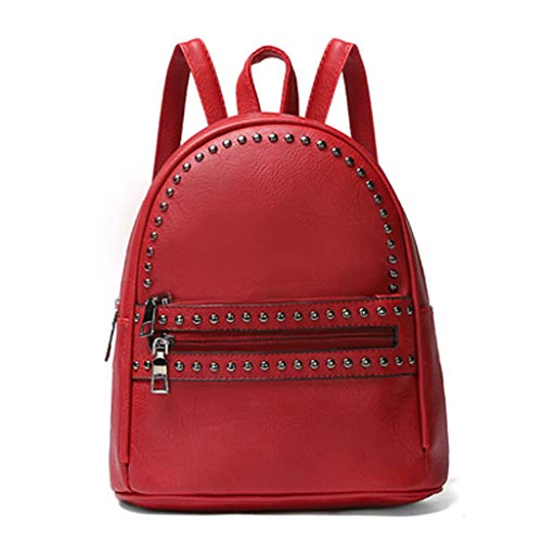 Muium 4 Colori Zaino Donna Zaino di Pelle PU Ragazza Schoolbag Borsa a Zainetto Zaino Casual per Scuola Lavoro Viaggio Shopping Rosso, Nero, Cachi, Giallo