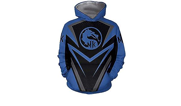Felpe da Uomo Felpe con Cappuccio Mortal Kombat 11 3D Stampata Felpa con Cappuccio Cosplay Casual Felpe Sportive con Cappuccio Blu