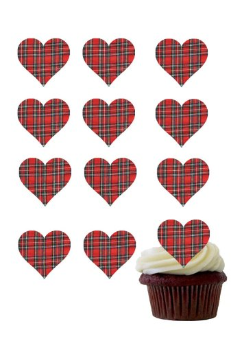Price comparison product image 12 X PRE-CUT RED TARTAN LOVE HEARTS EDIBLE RICE / WAFER PAPER CUP CAKE TOPPERS WEDDING BIRTHDAY PARTY DECORATIONS