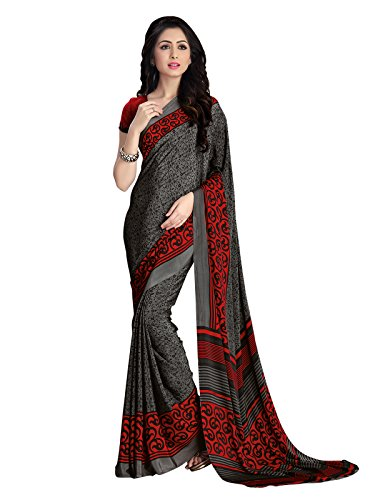 Varayu Womens New Designer fancy look Italian Crepe Beautiful Red Printed Casual Wear Saree with matching Unstitched Blouse Low Price Todays Special D