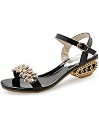 Damen Fashion Strass Wedges Plateau Sandalen Offene Zehe Anti-Slip-Block Ferse Sparkly Kleid Schuhe