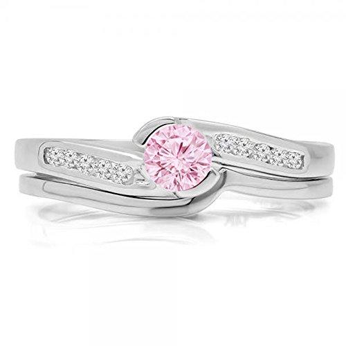 Damen Ring / Ehering 14 Karat Weißgold Rosa Saphir Diamant Verlobungsring Ehering Set Ring