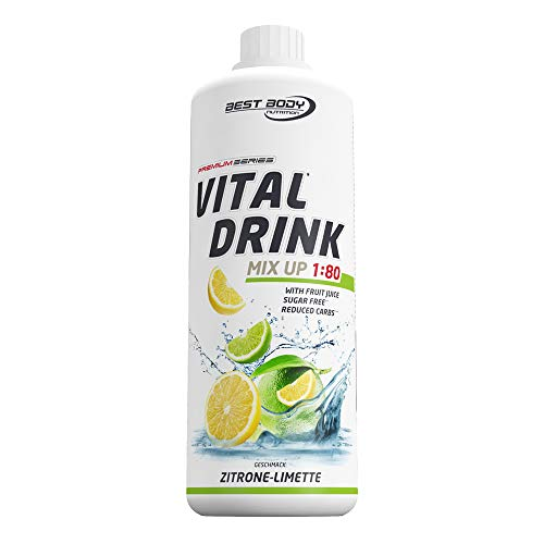 Klar Ananas Glas (Best Body Nutrition Low Carb Vital Drink, Zitrone Limette, 1000 ml Flasche)