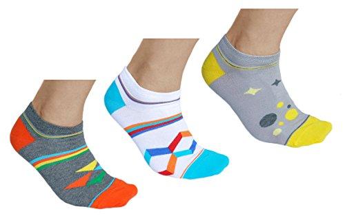 vitsocks Calcetines Bajos de Colores Hombre Fantasia (3x Multipack) Motivos Geométricos, Sneaker, 43-46
