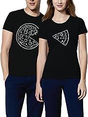 Idea Regalo - VIVAMAKE® Pack 2 Maglietta Mates per Donna e Uomo Originale con Il Design Amanti della Pizza