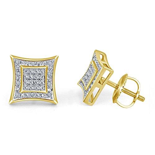 lilu Bijoux Mesdames Forever Coupe ronde Diamant Blanc Véritable Argent Sterling 925Boucles d'oreilles clous Vis Arrière 14k Gold Plated