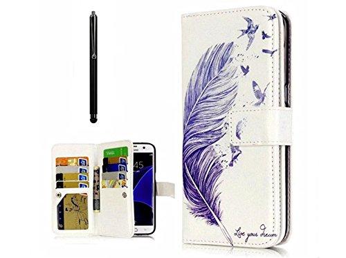 KSHOP Bookstyle Handyhülle PU Leder für Samsung Galaxy NOTE 5 Schale Tasche Flip Case Stoßfest Brieftasche Ultradünn Standfunktion Magnetverschluss+ Bleistift Touch Schwarze - Muster Blaue Feder