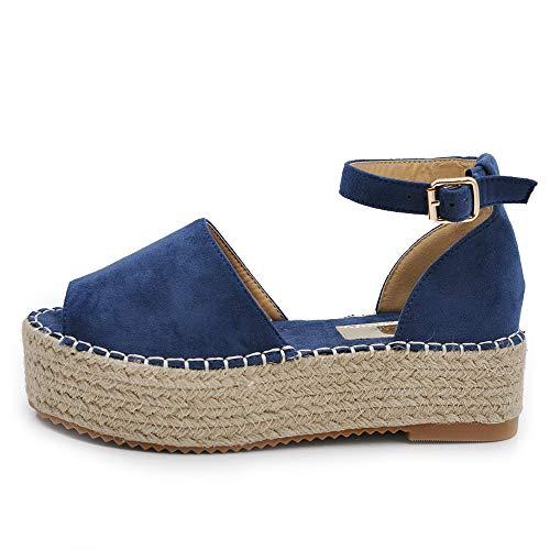 If Fashion Scarpe da Donna Sandali Espadrillas Platform Cinturino E7263 Blu N.39