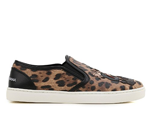 Dolce&Gabbana slip on femme en cuir sneakers crespo leo beige Multicolore