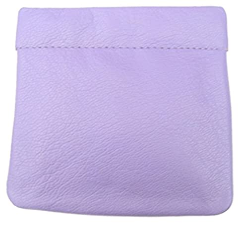 Snap Shut Squeeze Top Quality Leather Coin Purse (Lilac)