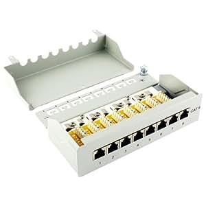 Ligawo ® Cat6 Patch Panel Desktop 8-LSA gris clair RAL 7035 - 8-port de panneau de brassage pour le raccordement d'une installation de câble réseau via LSA et les câbles de raccordement RJ45 - panneau de brassage Cat 6