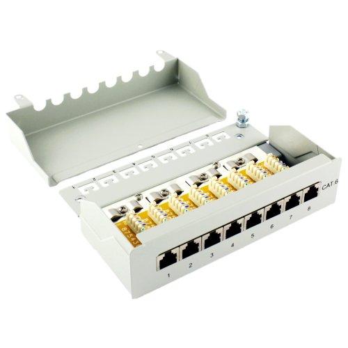 Desktop Patchpanel Cat6 8-fach LSA RAL 7035 grau - Patchfeld 8-port zum Anschluss von Netzwerk Verlegekabeln über LSA und Patchkabeln RJ45 - Cat.6 Patch Panel