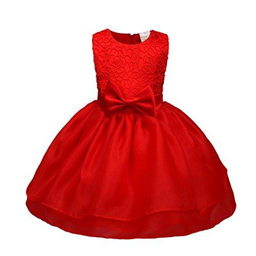 (OVERDOSE Kinder Baby Mädchen Ärmellos Blume Prinzessin Kleid Brautjungfer Pageant Kleid Geburtstagsfeier Hochzeitskleid Weihnachten Party Tütü Kleid(6M,A-Rot))