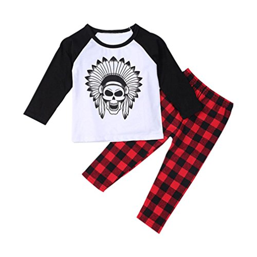 VoBambino Infant Toddler Baby Boys Printed T-shirt Tops+Pants Outfits Clothes Lattice pants suit (90/18mese)