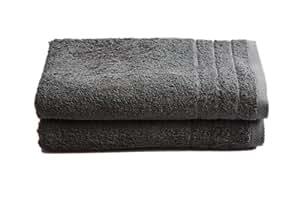"""2 tlg.Duschtuchset """"Selmin"""" 2x Duschtücher 70x140 cm in Anthrazit, 100% Baumwolle 600 g/m²"""