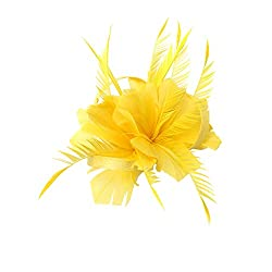 Phenovo Vintage Woman Feather Fascinator Hair Clip for 20s Great Gatsby Charleston Party Tea Party - yellow