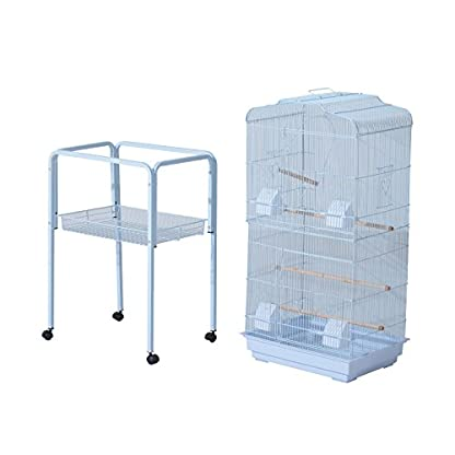 PawHut Large Metal Bird Cage w/ Breeding Stand Feeding Tray Wheels for Parrot Parakeet Macaw Pet Supply Light Blue 47.5L… 9