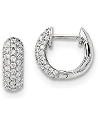 ICE CARATS 14k White Gold Diamond Hoop Earrings Ear Hoops Set Fine Jewelry Gift Set For Women Heart