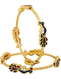 Zeneme Designer Peacock Design Gold Plated Jewellery Bangles For Women And Girls Set Of 2…