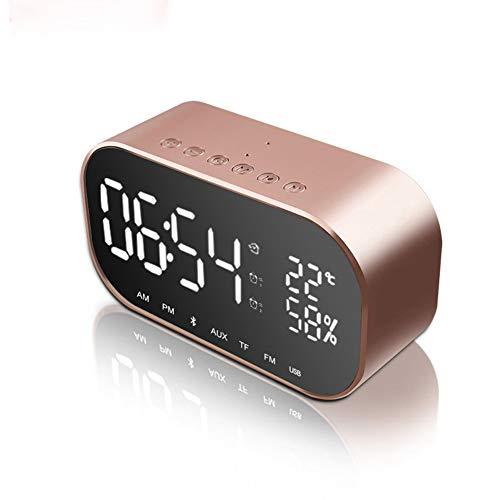 FULANTE Wecker Bluetooth-Lautsprecher, FM-Radio tragbarer drahtloser Lautsprecher Stereo-Musik TF-Lautsprecher Schlafzimmer Wetter