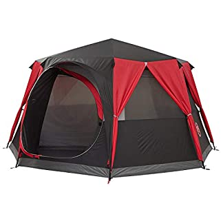 Coleman Tent Octagon, 6 Man Festival Dome Tent, 6 Person Family Camping Tent with 360° Panoramic View, Stable Steel Pole… 1